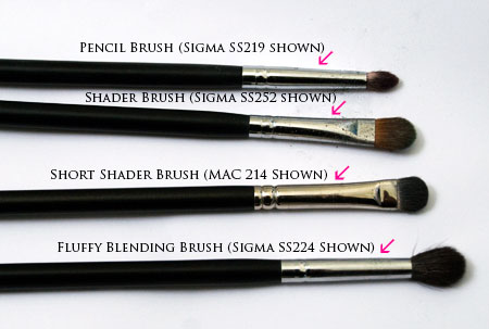 The four necessary eye brushes