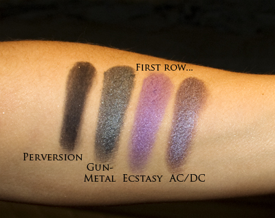 First row of eye-shadows