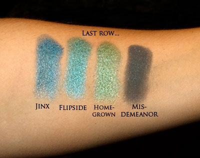 Last row of eye-shadows