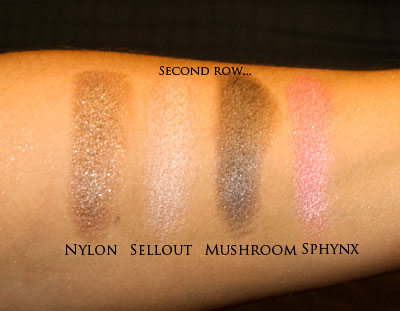Second row of eye-shadows