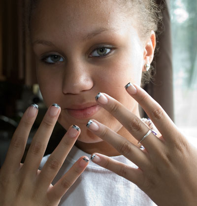 My niece, Destinee, enjoying her gorgeous nails!