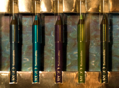 Five pencils: Steel blue, Turquoise, Purple, Bright Green, Forest Green