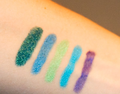 Left to right: Forest Green, Steel blue, Bright Green, Turquoise, Purple