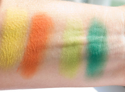 """Upper Zest Side,"" Swatches (left), ""Bowling Green,"" Swatches (right)"