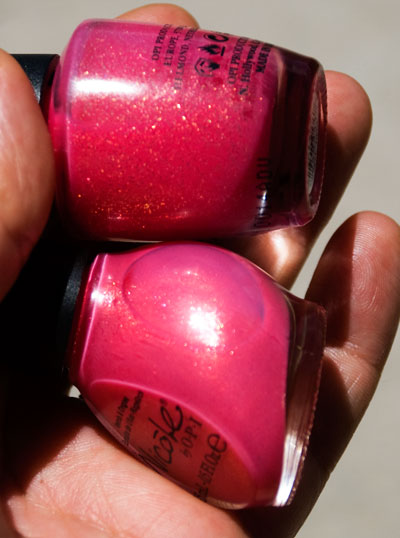 """OPI """"Pink Me I'm Good"""" (top), Nicole by OPI """"You're An Angel"""" (bottom)"""