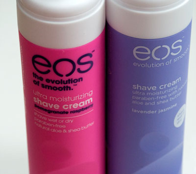 EOS Shave Cream in Pomegranate Raspberry (left), Lavender Jasmine (right)
