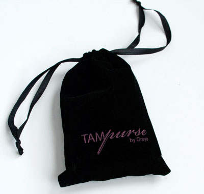 Tampurse comes in a beautiful velvet drawstring bag