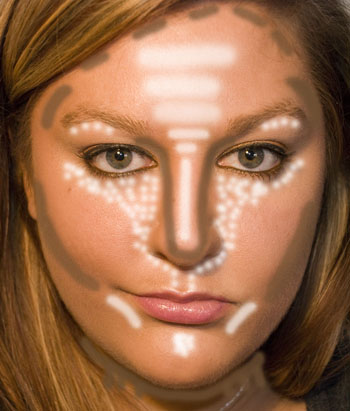 Apply bronzer where the brown shaded areas are