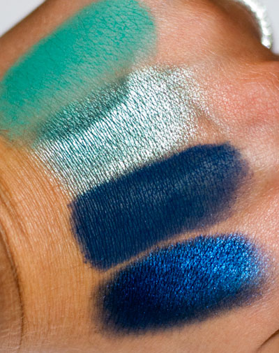 """Pride"" Palette: 4 shades of green and blue, matte & shimmer"