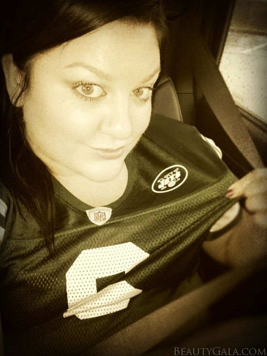 Wearing my Mark Sanchez Jets jersey