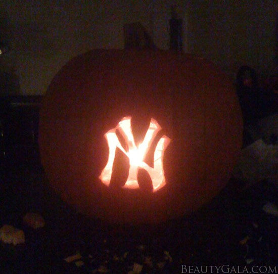My Yankees pumpkin that I carved for Halloween!