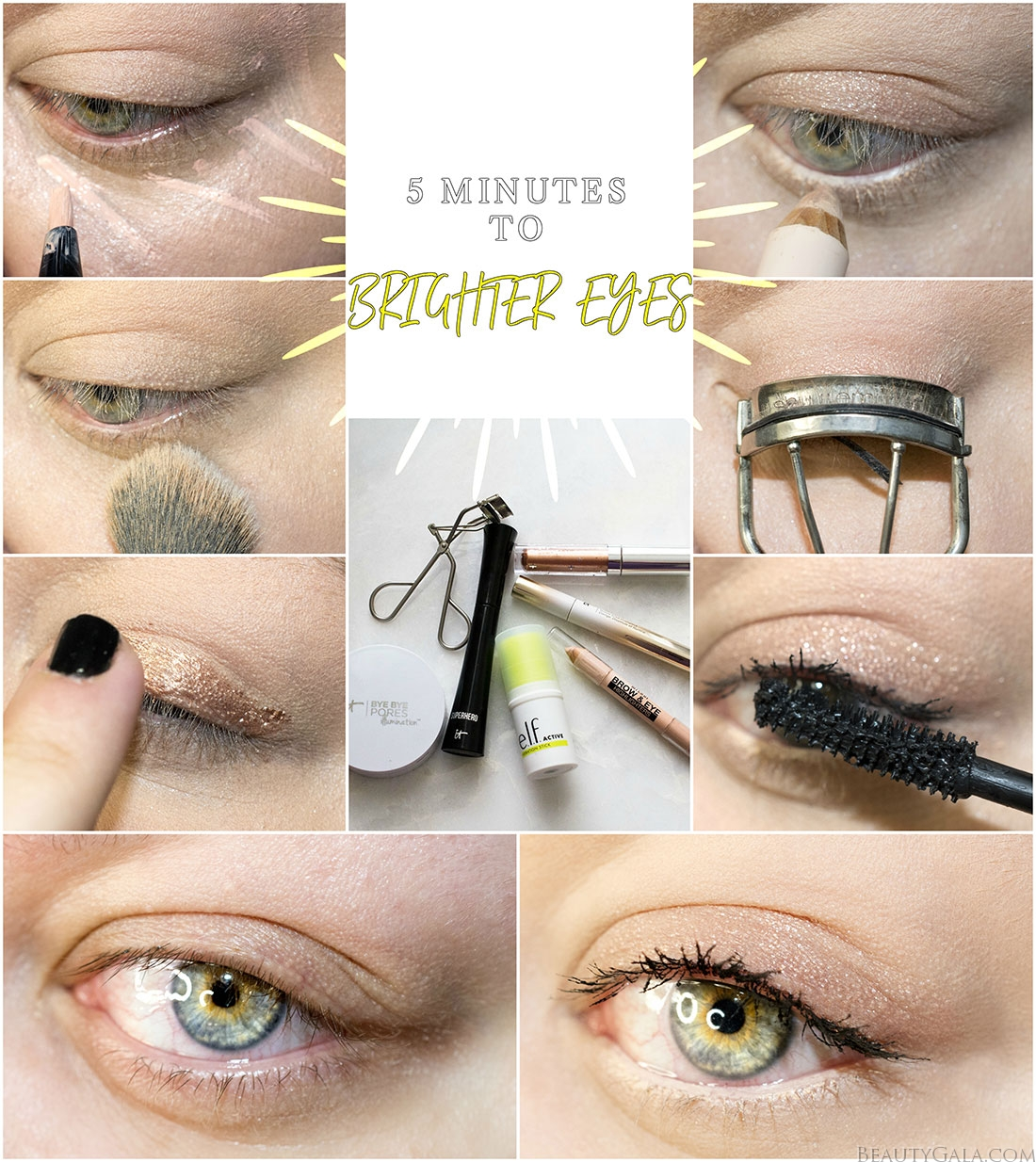5 minute makeup, quick makeup, brighten eyes, brighter eyes